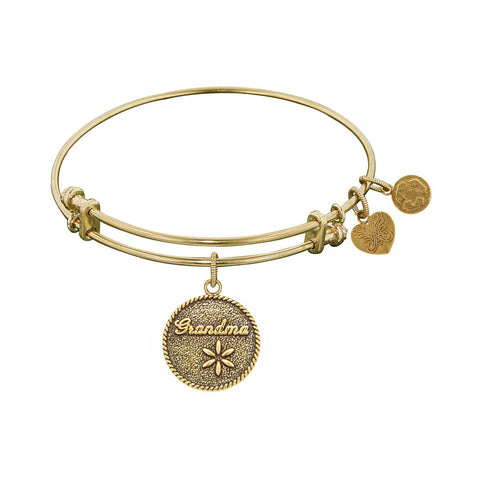 Stipple Finish Brass Grandma Angelica Bangle Bracelet, 7.25""