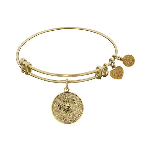 Stipple Finish Brass Cheerleader Angelica Bangle Bracelet, 7.25""