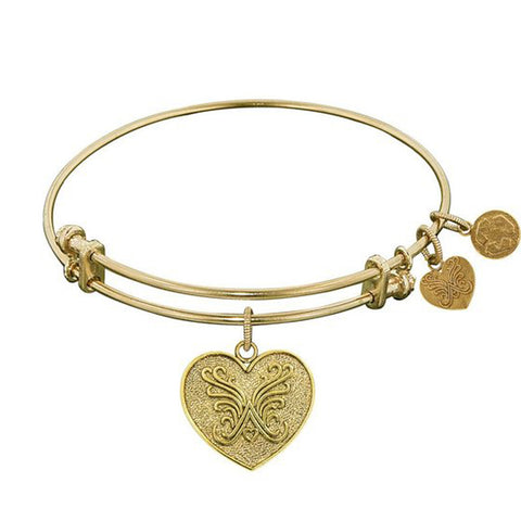 Non-Antique  Stipple Finish Brass Angelica Heart Angelica Bracelet