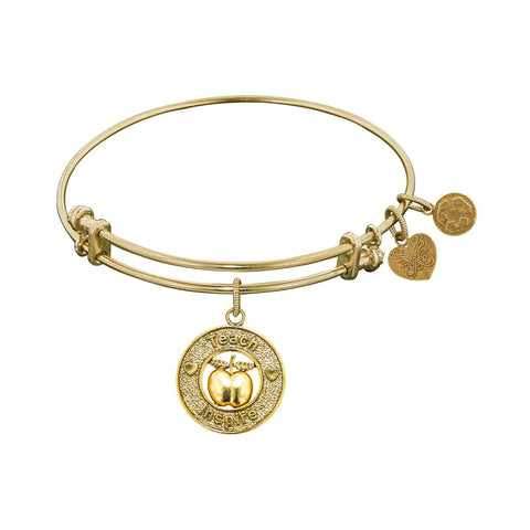 Stipple Finish Brass Apple, Teach, Inspire Angelica Bangle Bracelet, 7.25""