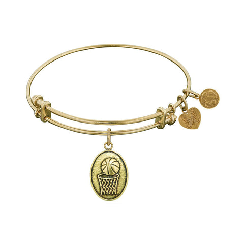 Smooth Finish Brass Basketball Angelica Bangle Bracelet, 7.25""