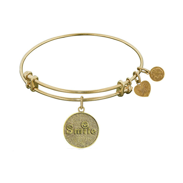 Stipple Finish Brass Smile Angelica Bangle Bracelet, 7.25""