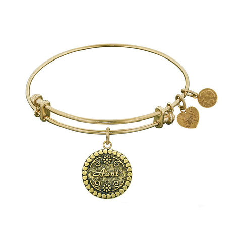 Stipple Finish Brass Aunt  Angelica Bangle Bracelet, 7.25""