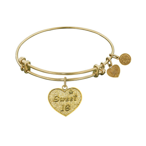 Stipple Finish Brass Sweet 16  Angelica Bangle Bracelet, 7.25""