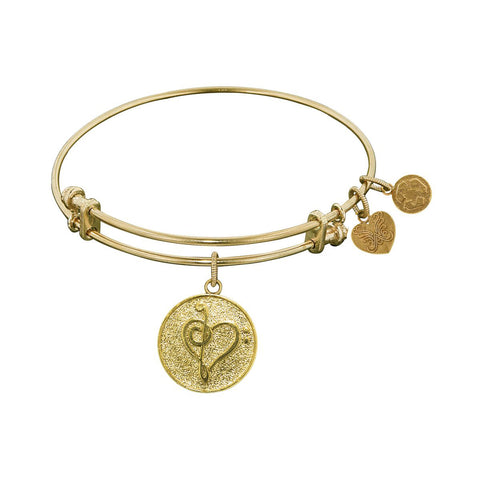 Stipple Finish Brass Music Angelica Bangle Bracelet, 7.25""