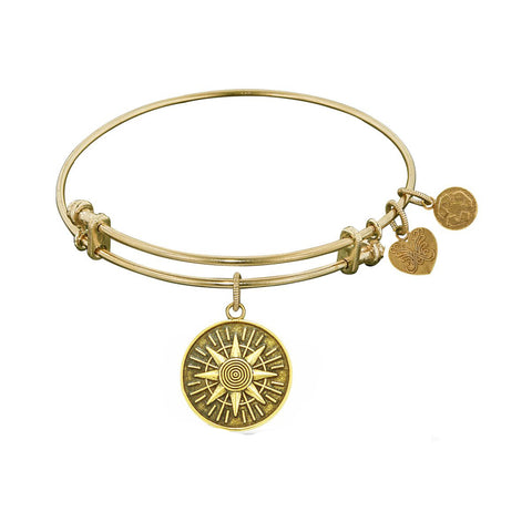 Smooth Finish Brass Compass Angelica Bracelet, 7.25""