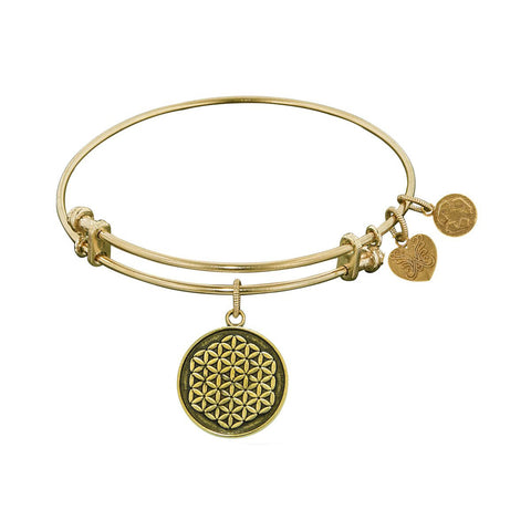 Smooth Finish Brass Flower Of Life Angelica Bangle Bracelet, 7.25""