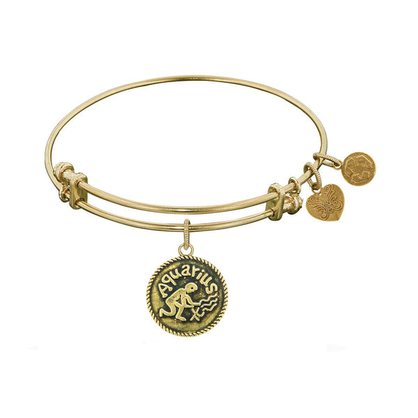 Smooth Finish Brass Aquarius January Angelica Bangle Bracelet, 7.25""