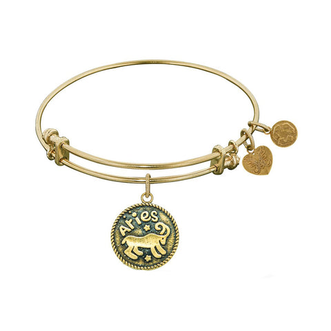 Smooth Finish Brass Aries March Angelica Bangle Bracelet, 7.25""