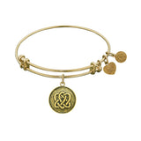 Stipple Finish Brass Eternal Life  and Unity Angelica Bangle Bracelet, 7.25""