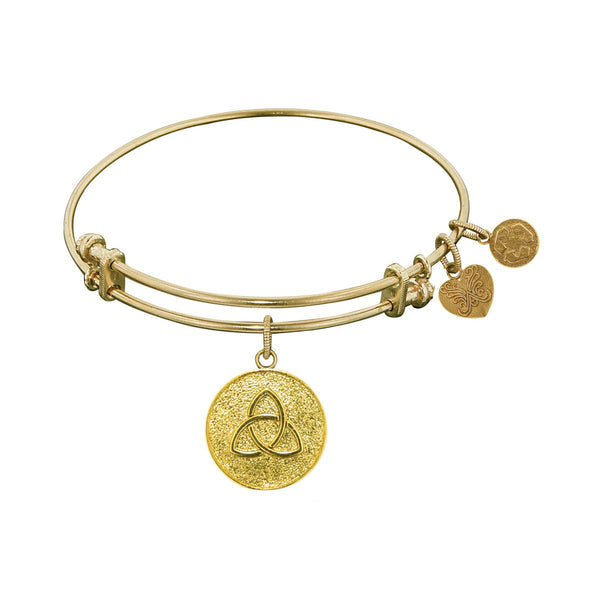 Stipple Finish Brass Triquetra  Angelica Bangle Bracelet, 7.25""