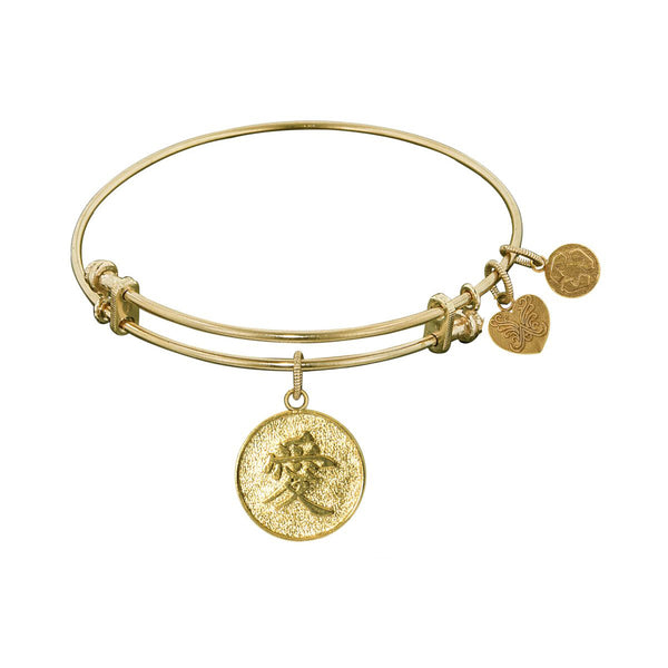 Stipple Finish Brass Chinese Love Angelica Bangle Bracelet, 7.25""