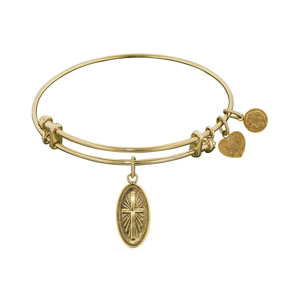 Smooth Finish Brass Cross In Oval Angelica Bangle Bracelet, 7.25""