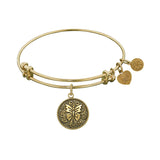 Stipple Finish Brass Butterfly Angelica Bangle Bracelet, 7.25""