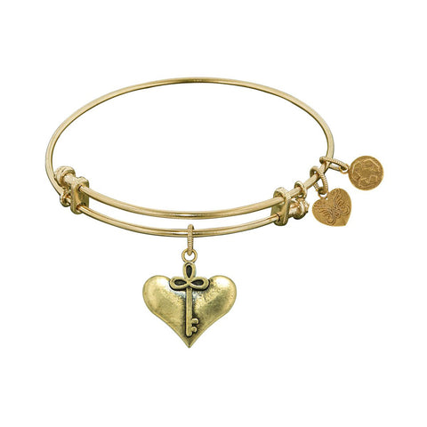Smooth Finish Brass Cherish  Angelica Bangle Bracelet, 7.25""
