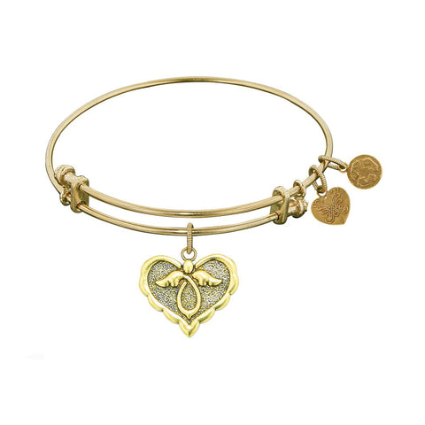 Stipple Finish Brass Angel Angelica Bangle Bracelet, 7.25""