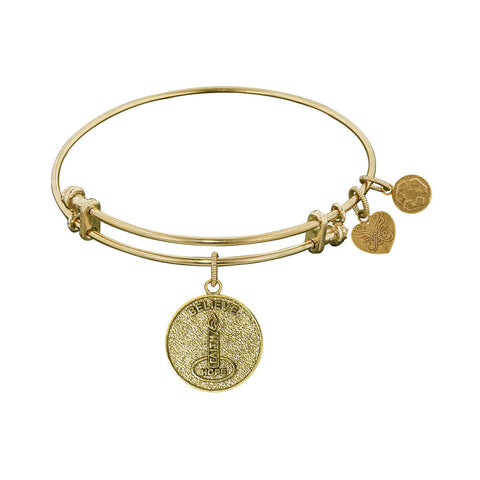 Stipple Finish Brass Candle, Believe, Hope, Faith Angelica Bangle Bracelet, 7.25""