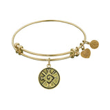 Smooth Finish Brass Hunab Ku Angelica Bangle Bracelet, 7.25""