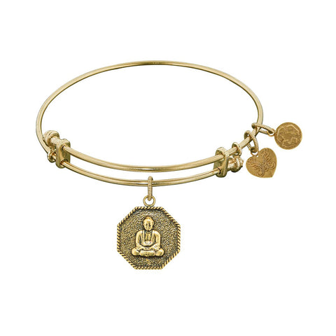 Stipple Finish Brass Buddha Angeica Bangle Bracelet, 7.25""