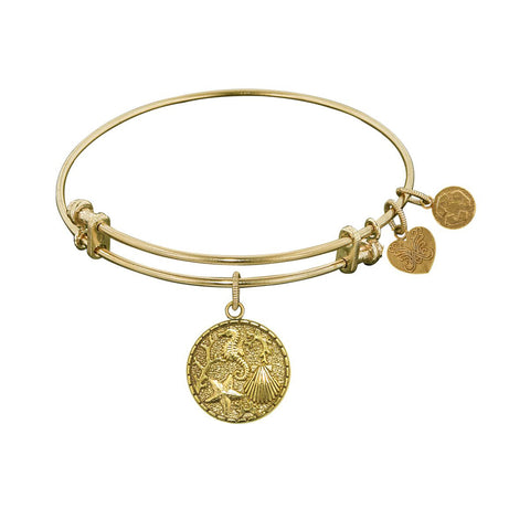 Non-Antique  Stipple Finish Brass The Sea Angelica Bangle Bracelet