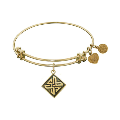 Smooth Finish Brass Celtic Square Knot Angelica Bangle Bracelet, 7.25""