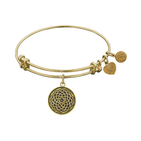 Smooth Finish Brass Lotus Flower Angelica Bangle Bracelet, 7.25""