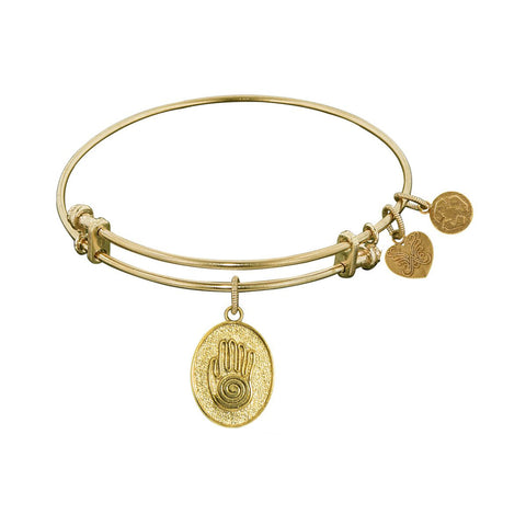 Stipple Finish Brass Hand of Fatima Angelica Bangle Bracelet, 7.25""