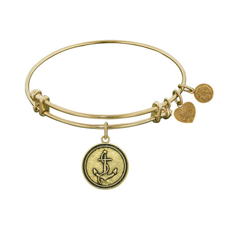Finish Brass Anchor Angelica Bangle Bracelet, 7.25""