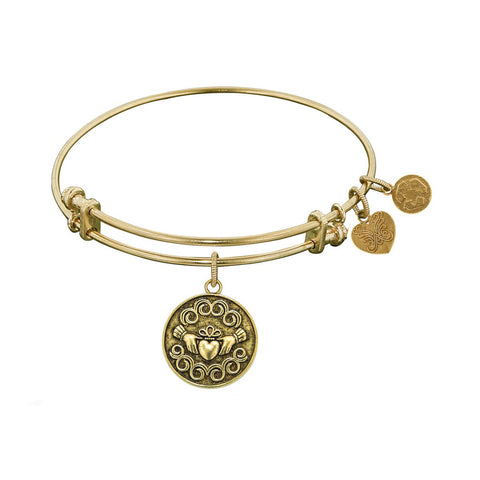 Smooth Finish Brass Claddagh Angelica Bangle Bracelet, 7.25""