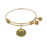 Smooth Finish Brass Dragonfly Angelica Bangle Bracelet, 7.25""