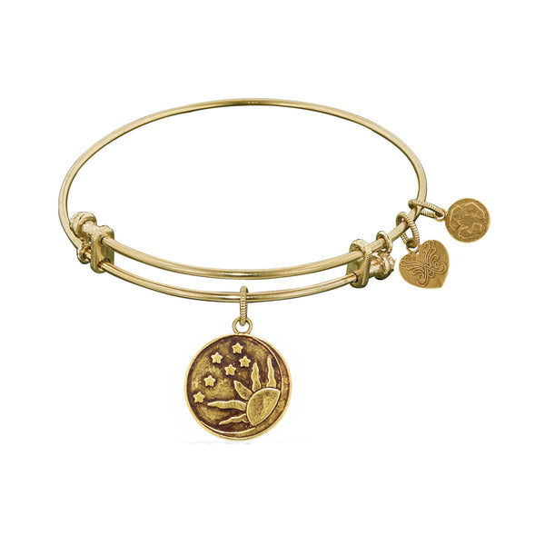 Smooth Finish Brass Sun, Moon, Stars Angelica Bangle Bracelet, 7.25""