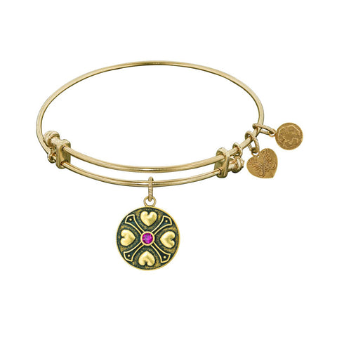 Finish Brass February Birthstone Angelica Bangle Bracelet, 7.25""