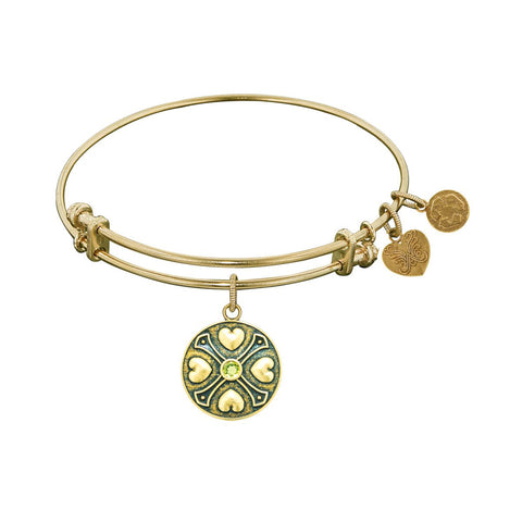 Finish Brass August Birthstone Angelica Bangle Bracelet, 7.25""
