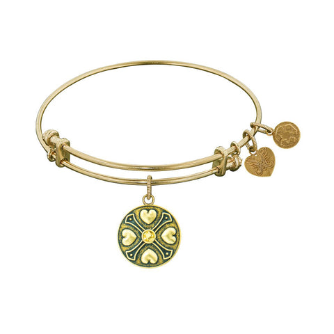 Finish Brass November  Birthstone Angelica Bangle Bracelet, 7.25""