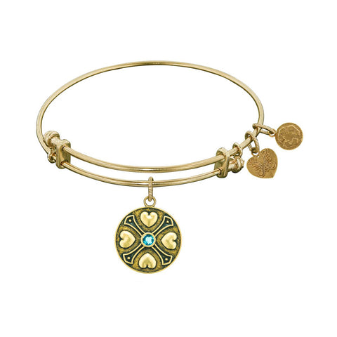 Finish Brass December Birthstone Angelica Bangle Bracelet, 7.25""