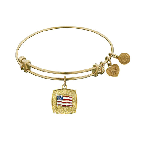 Stipple Finish Brass American Flag Angelica Bangle Bracelet, 7.25""