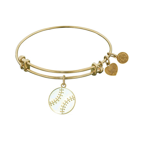 Non-Antique  Stipple Finish Brass Baseball Angelica Bangle Bracelet