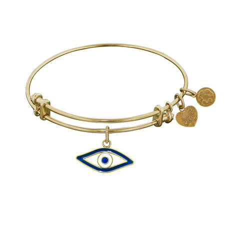 Non-Antique  Stipple Finish Brass Evil Eye Angelica Bangle Bracelet