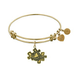 Smooth Finish Brass Generation Rescue Autism Angelica Bangle Bracelet, 7.25""