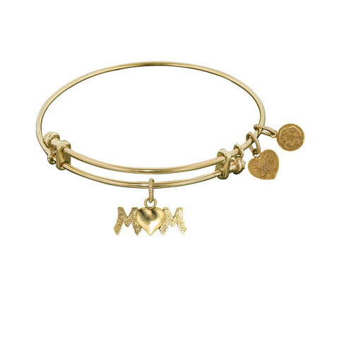 Non- Yellow Stipple Finish Brass M-Heart Angelica Bangle Bracelet