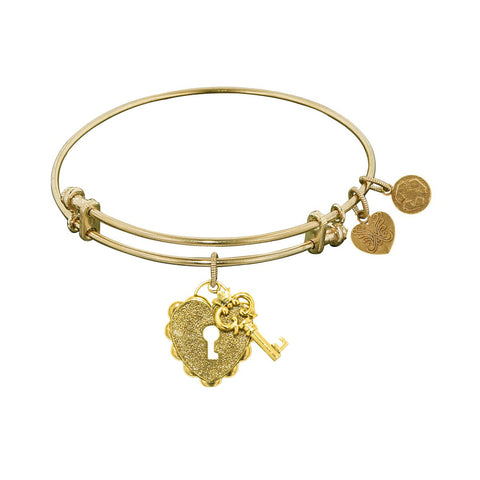Non-Antique  Stipple Finish Brass Key to My Heart Angelica Bangle Bracelet