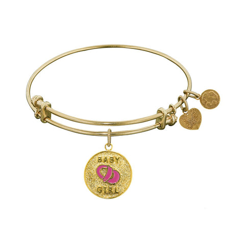 Stipple Finish Brass Enamel Baby Girl Angelica Bangle Bracelet, 7.25""