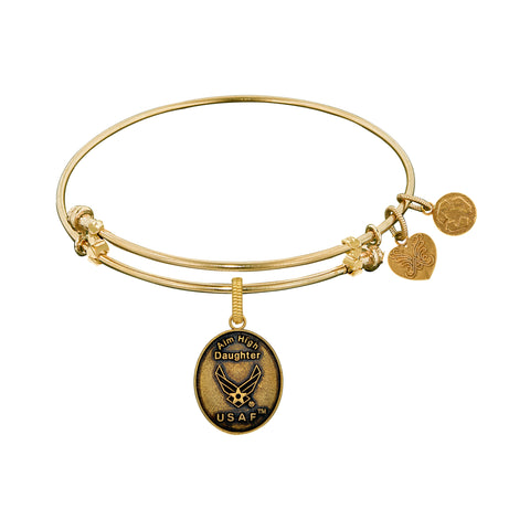 Aim High Daughter U.S. Air Force Charm Expandable Bangle Bracelet, 7.25""
