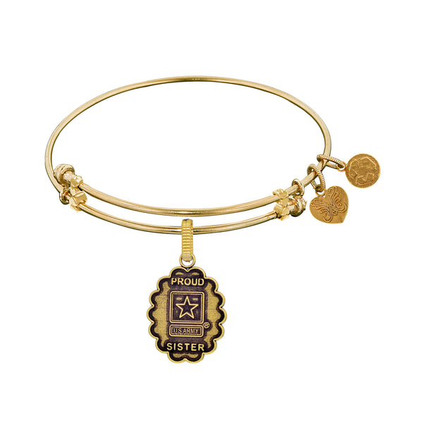 U.S. Army Proud Sister Charm Expandable Bangle Bracelet
