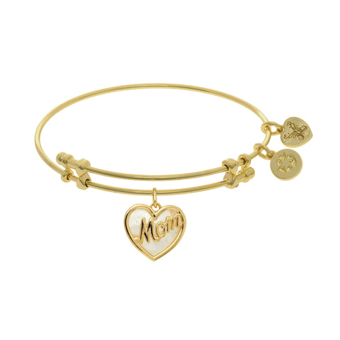 Heart Shape Mom Charm With Created Mother Of Pearl Expandable Bangle Bracelet, 7.25""