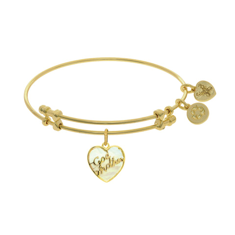Godmother Charm With Synthetic Mother Of Pearl Expandable Bangle Bracelet, 7.25""