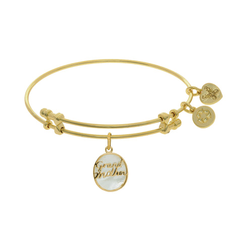 Grand Mother Charm With Synthetic Mother Of Pearl Expandable Bangle Bracelet, 7.25""