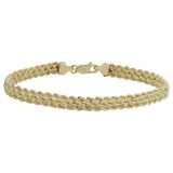 10k Yellow Gold Triple Row Semi Solid Rope Bracelet, 7.5""
