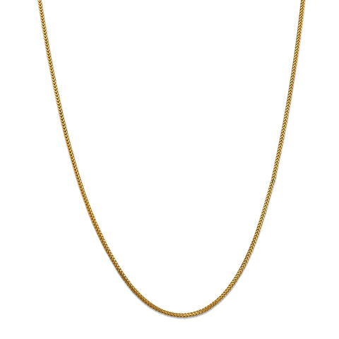 14k Yellow Solid Gold Franco Chain Necklace, 0.9mm