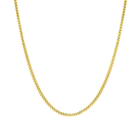14k Yellow Solid Gold Franco Chain Necklace, 1.8mm